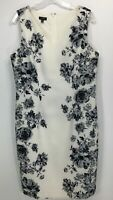 Talbots Women's Sleeveless Dress/Sheath Sz 12 White w Black Flowers V-Neck