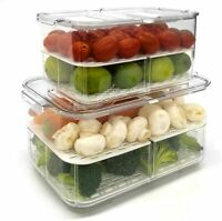 Food Storage Container 2 Sets with Lid  And Removable Drain For Fruit Vegetable