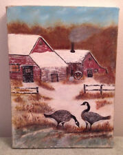 Snowy Farm with Geese Oil Painting, Winter Bird Art Barn Red Countryside Brown