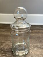 Vtg Big Ball Lid Clear Glass Candy Jar Canister Apothecary  8.5""