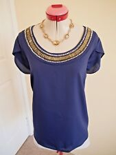 MODA Navy Blue BLOUSE TOP Size 18 BNWT NEW Gold Beads Tulip Sleeve Cocktail Eve