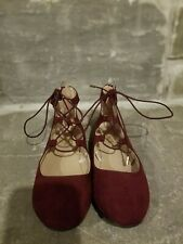 The Children's Place girls shoes size 2 red, lace-up, zipper heel flats