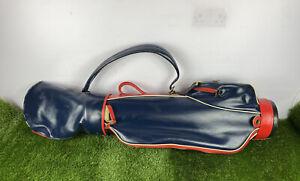 Vintage Red Blue Leather Golf Bag 70s  Divider Rain Hood Good Condition