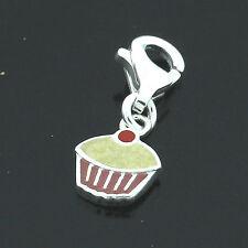 Silver  Enamelled Cupcake Charm/ pendant