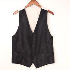 Gray Flannel Chalkstripe Vest Waistcoat 54 44 US Made in Italy Wool Stripe Grey