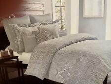 Hillcrest Gray White Paisley Full Queen Comforter 6pc Set New Bella Lux Damask