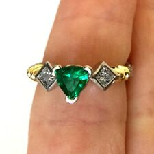 Platinum Pt And 18K Gold Diamond Trillion Cut Emerald Women Cocktail Ring Sz 5.5