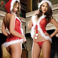 Women Sexy Santa Claus Christmas Red Babydoll Dress Sleepwear Underwear Lingerie