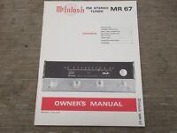 Mcintosh MR 67 Vintage FM stereo Tuner Original Owners manual