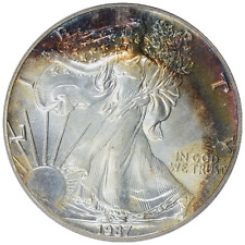 1987 $1 Silver Eagle PCGS MS66 ( Beautifully Toned ) ASE Coin Bullion