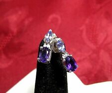14K WHITE GOLD OVAL AMETHYST AND DIAMOND STUDS EARRINGS