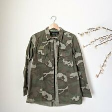 ASHLEY MASON Womens Army Camo Print Long Sleeve Top Jacket Snap Closure Small