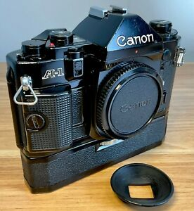 Canon A-1 35mm SLR Camera Body + Power Winder A - FULL WORKING ORDER - NO COUGH