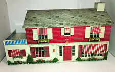 Large Vintage  Marx 50s Tin Dollhouse 2 Story Colonial 33 inches Long