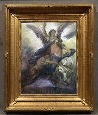 Antique American Painting John La Farge Angel and trumpeter on Heaven door