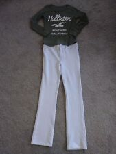 Hollister Women's Long Sleeve Logo Shirt & White C'est Toi Stretch Pants Sz L