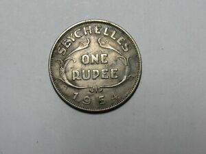Old Seychelles Coin - 1954 One Rupee - Circulated, discolored