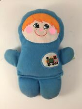 """1978 Vintage Playskool Baby Boy blue cloth rattle 6.5"""" tall painted face RARE"""