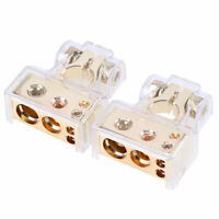2x Gold 0/4/8 Awg Gauge Car Positive Negative Battery Terminal Clamps Universal