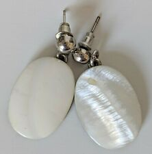 Vintage Mother of Pearl Earrings Silver Tone Drop Earrings VTG