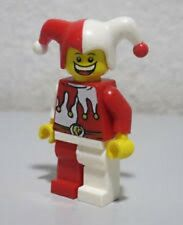BN Lego mini figure Castle Kingdoms jester happy sad red & white minifigure