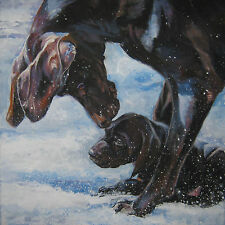 """German Shorthaired Pointer gsp dog art canvas PRINT of painting LSHEP 12x12"""""""