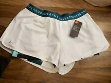 BNWT Under Armour  Women's HeatGear 2-in-1 Shorts - white/green 1320598 size XL