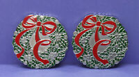 🎄 Lot of 2 Vintage Christmas Wreath & Bow Heavy Metal Coasters - Red & Green