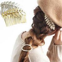 Femme cheveux agrafes cheveux peigne en alliage feuilles élégant band LC