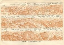 1927  VINTAGE MAP-TYROL- BAVARIAN ALPS-PANORAMA FROM WENDELSTEIN