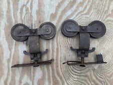 Pair Antique Cast Iron Barn Door Track Rollers Hangers Restore