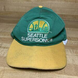 Vintage Seattle Supersonics Snapback Hat by Universal Green Hat Yellow Logo/Bill