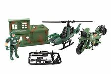 Army Base Command Center with Helicopter Motorbike and Soldier Attack Unit Toy