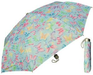 "42"" Arc Butterfly Print Super Mini Rain Umbrella - RainStoppers Rain/Sun UV"