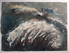 Baruj Salinas, Original Signed Abstract Wave Painting 1993, Miami Cuban Art