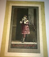 Rare Antique Victorian American Child & Bird! Old Holiday Christmas Card! Xmas!