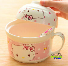New Cute Hello Kitty Ceramic Oatmeal Salad Soup Noodle Bowl & Rice Bowl