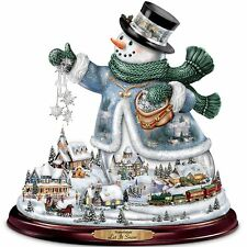 Musical Snowman Christmas Statue Thomas Kinkade Art Holiday Sculpture NEW