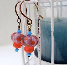 Drop Earrings, Handmade lampwork polka dot and czech crystal earrings, Unique
