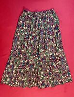 🍁 NORTHERN ISLES ~ PORTRAITS . Floral Pull-On Skirt . Brown Burgundy . Size M