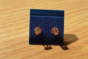 0.61ct AAA Golden Imperial Topaz Earrings 14K YG over Sterling Silver 5x3mm VVS