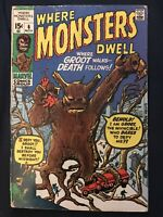 WHERE MONSTERS DWELL #6 (1970) KEY ISSUE:1st App Groot reprint, Around GD+