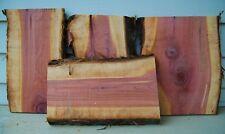 Three Live Edge Red Cedar Craft Wood Slab, Cutting Board Blank, Air Dried Lumber