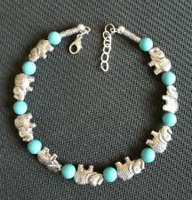 Ladies Bangle Tibetan Silver Elephant Blue Turquoise Bead Bracelet Jewelry
