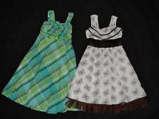 Girls sz 8-10 Sun Dress Lot Spring Summer Plaid Embroider Butterfly Tulle Ruffle