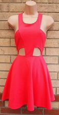 OH MY LOVE PINK QUILTED FEEL CUT OUT SKATER FLIPPY FLARE PARTY A LINE DRESS S