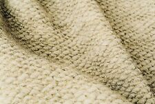 LIGHT NATURAL OATMEAL BOILED WOOL CHUNKY SEEDED SOFT KNIT MADE IN ITALY C108