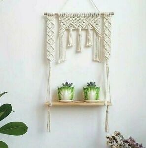 Tapestry Shelf Wood Floating Planter Storage Hanger Pot Wall Hanging Home Decor