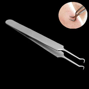 Bend Curved Facial Extractor Blackhead Acne Blemish Remover Tweezers Tool