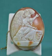 Antique Shell Cameo Brooch fine large 9 ct Rose Gold & Safety Chain